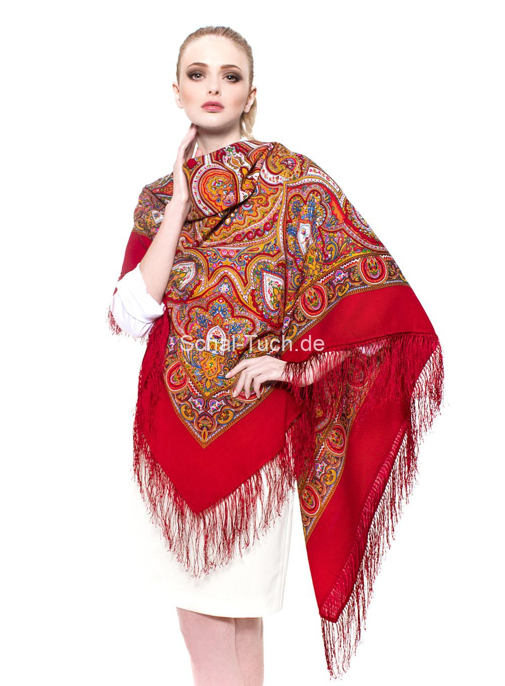 Paisley-Tuch in rot aus reiner Wolle - LAURA